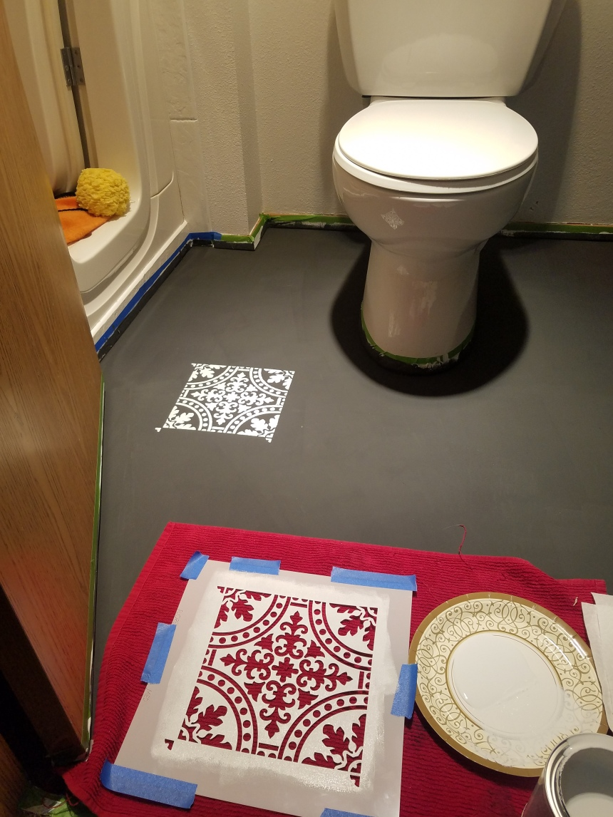 Finds and Dines DIY Painted Stenciled Floors Guest Bathroom with Cutting Edge Stencils (8)