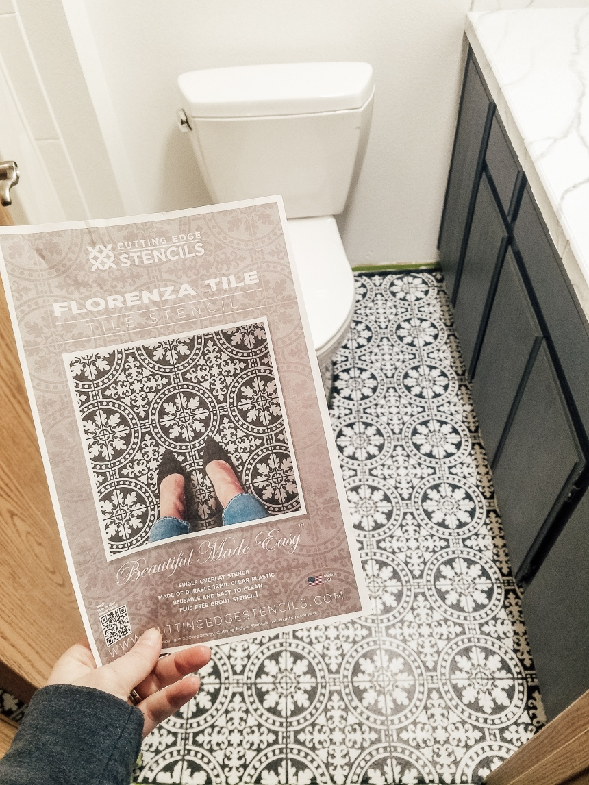 Finds and Dines DIY Painted Stenciled Floors Guest Bathroom with Cutting Edge Stencils (13)