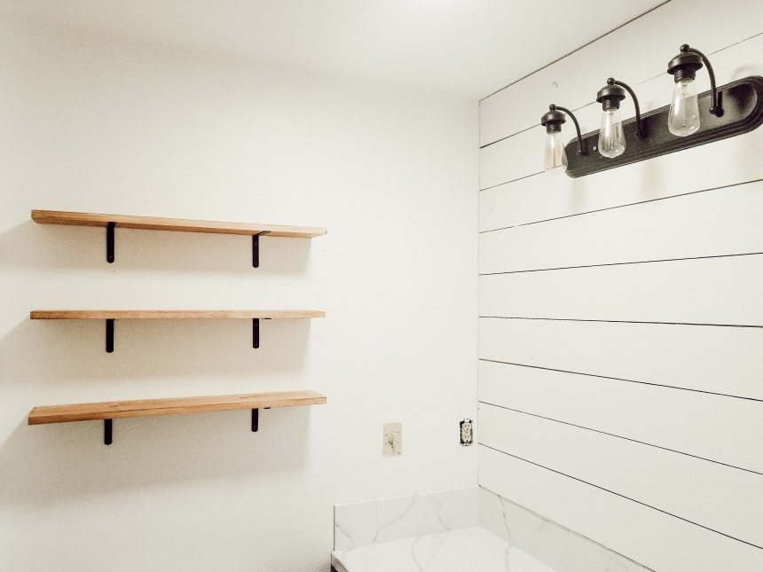 Finds and Dines DIY Farmhouse Open Shelving in the Guest Bathroom (7)