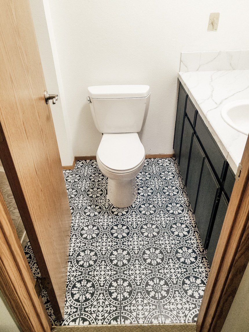 Finds and Dines DIY Painted Stenciled Floors Guest Bathroom with Cutting Edge Stencils (15)