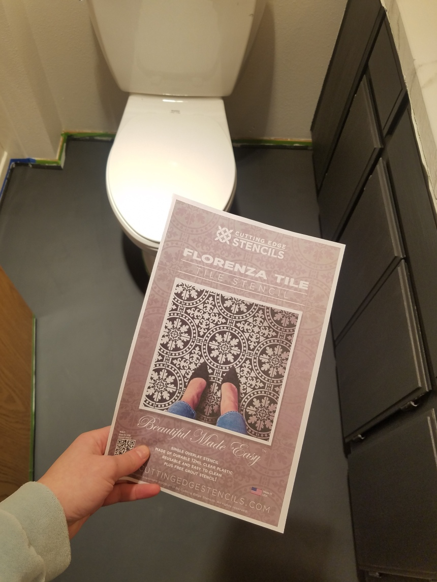 Finds and Dines DIY Painted Stenciled Floors Guest Bathroom with Cutting Edge Stencils (5)