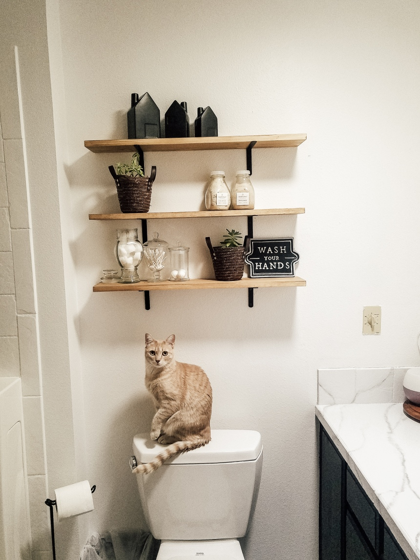 Finds and Dines DIY Farmhouse Open Shelving in the Guest Bathroom (10)