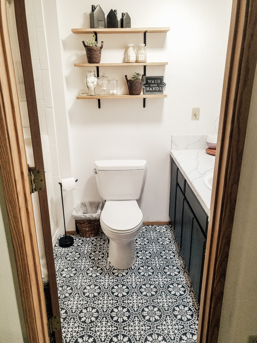 Finds and Dines DIY Painted Stenciled Floors Guest Bathroom with Cutting Edge Stencils (18)