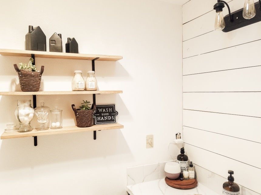 Finds and Dines DIY Farmhouse Open Shelving in the Guest Bathroom (9)