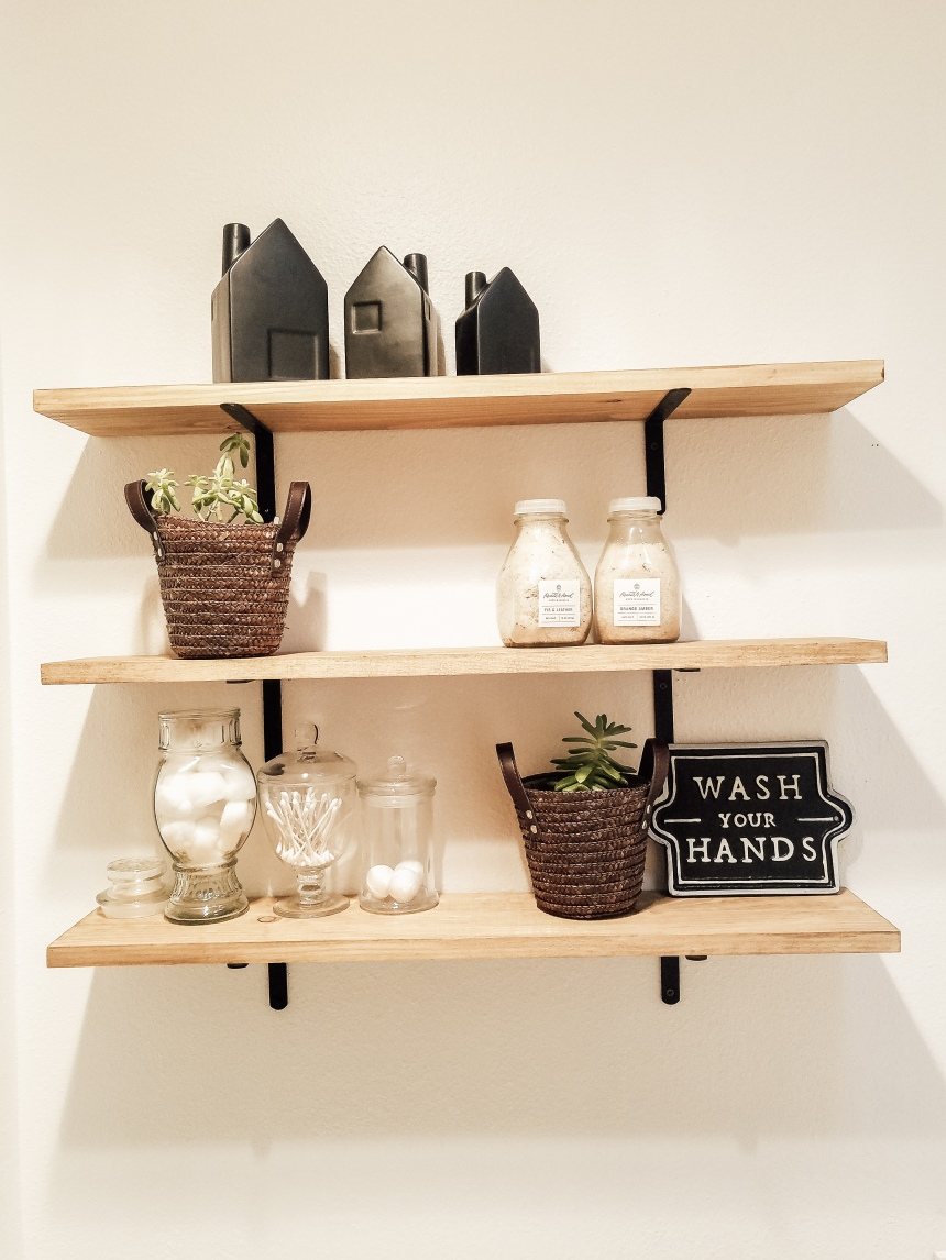 Finds and Dines DIY Farmhouse Open Shelving in the Guest Bathroom (8)