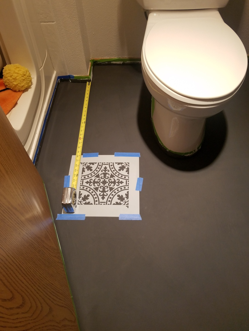 Finds and Dines DIY Painted Stenciled Floors Guest Bathroom with Cutting Edge Stencils (6)