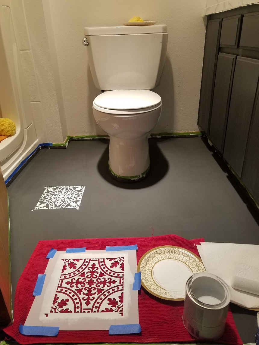 Finds and Dines DIY Painted Stenciled Floors Guest Bathroom with Cutting Edge Stencils (9)
