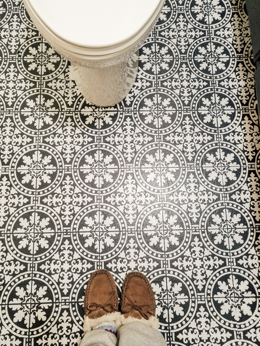 Finds and Dines DIY Painted Stenciled Floors Guest Bathroom with Cutting Edge Stencils (16)