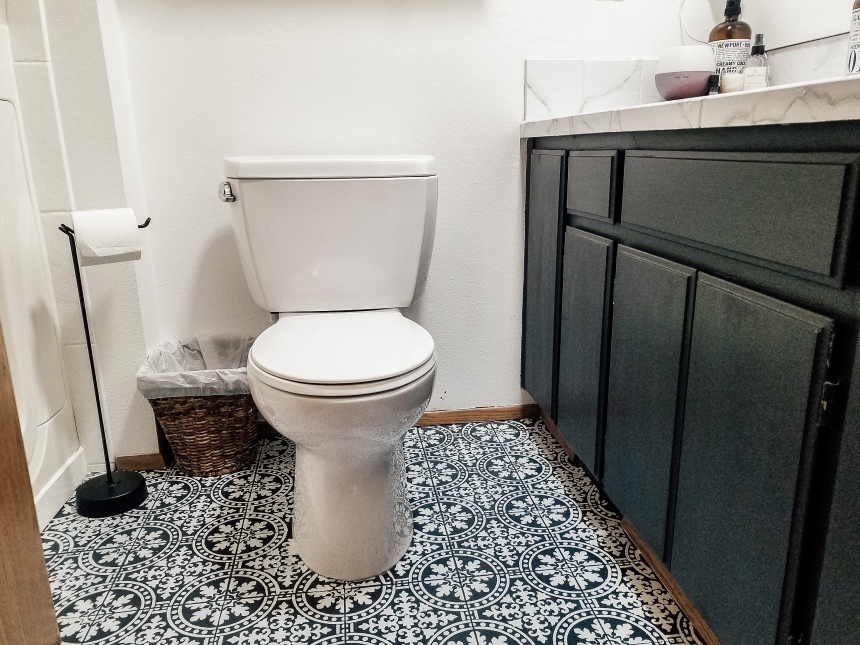Finds and Dines DIY Painted Stenciled Floors Guest Bathroom with Cutting Edge Stencils (20)
